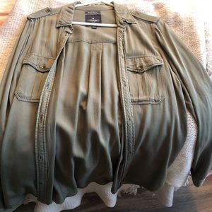 Olive green button up boy friend fit size small